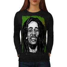 Marley Face Celebrity Bob Women Long Sleeve T-shirt NEW | Wellcoda