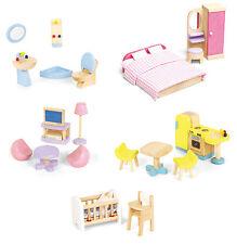 Pintoy Möbelset für Puppenhaus Holz komplette Einrichtung Puppenmöbel NEU