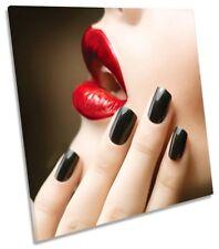 Lipstick Nails Beauty Salon Framed CANVAS PRINT Square Wall Art
