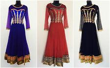 Indian Pakistani Blue Black Red Anarkali Salwar Kameez Ladies Long Women S-M