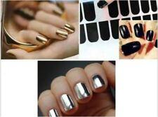 16PCS/Pack Nail Foil Wrap Metallic Art Kit Adhesive Sticker - Black Gold Silver