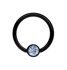 Piercing Joya Anillo BCR negro 1,2mm con 4mm Bola de piedra Terminal 8-12mm