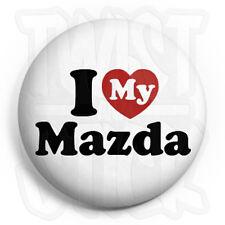 I Love My Mazda - Button Badge - 25mm Car Heart Badges, Fridge Magnet Option