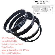HTD1500~3770/Pitch 5mm Black Rubber Gear Timing Belt Transmission Drive Belts
