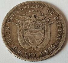 Panama 1904-1966 1/10-1/4-1/2 & 10 Centesimos Balboa Silver Coins