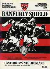 Canterbury v North Auckland 7 Sep 1985 Ranfurly Shield, NZ Rugby Programme
