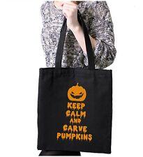 Halloween Carves Pumpkins Trick Treat Black Tote Bag Kids Shopper Scary Funny
