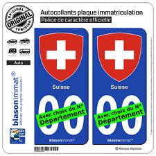 2 Stickers autocollant plaque immatriculation Auto : Suisse - Armoiries