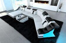 Eckcouch Leder Sofa XXL Wohnlandschaft TURINO CL LED Beleuchtung weiß schwarz
