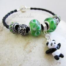 Panda Bear Black Leather European Charm Bracelet w Green Glass And Crystal Beads