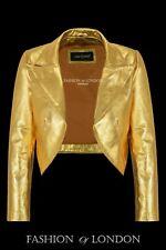 Ladies Cropped Leather Shrug Golden Slim-fit Short Body Jacket Bolero Style 5650