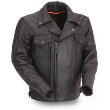 Mens Leather Motorcycle Jacket, Mastermind, FIM244BNKDZ, Mens Utility Jacket