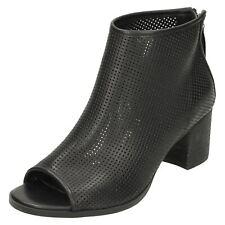 Mujer Savannah Negro Punta Abierta Tobillo boots-f10599