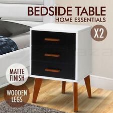 2 Bedside Table Scandinavian Side Unit Cabinet Matte Storage Wooden Box