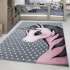Kinderteppich Einhorn Muster Kinderzimmer Babyzimmer Rechteck Rund Grau Pink