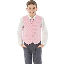 Boys Suit 4 Piece Grey Waistcoat Suit Pink Dobby Pageboy Formal Wedding