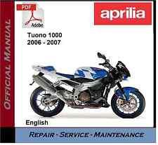 Aprilia Tuono 1000 2006 - 2007 Workshop Service Repair Manual