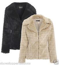 NEW Faux Fur Jacket Womens Soft Warm Coat Ladies Black Beige Size 8 10 12 14 16
