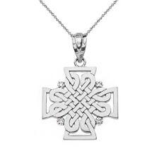 Solid 14k White Gold 4 Diamond Celtic Woven Cross Pendant Necklace