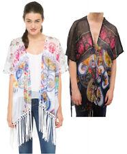 Desigual Fringed White / Black Floral Mayo Kimono Blouse S-XL 10-16 RRP ?69