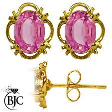 BJC 9ct Oro Amarillo Natural Topacio Rosa Individual DORMILONAS TACHUELAS 1.50ct