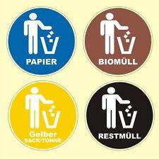 4 Stück Mülltonnenaufkleber Mülleimer Abfall Recycling Mülltrennung 5 und 10 cm