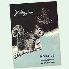 JC HIGGINS MODEL 36 OWNERS PARTS GUN MANUAL INSTRUCTION .22 AUTO RIFLE JCHIGGINS