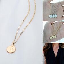 Women Female Gifts Fashion Alloy Necklace Round  Letter Pendant  Pendant Short
