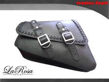 La Rosa Harley Sportster Left Saddle Bag - 2004-2017 Black Leather Cross Lace
