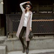 Women Knee Length Vest Jacket Sleeveless Blazer Waistcoat Lapel Cardigan Tops