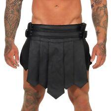 *XXL Gladiator Kilt Echt Leder Roman Style 2Gürtel 4Schnalle Schwarz B leder-joe