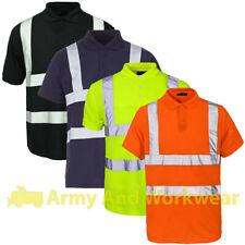 Hombre Hi Viz Piqué cuello de Polo Seguridad WORK Camiseta Visibilidad Uniforme