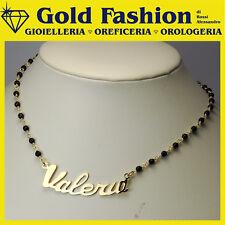 Collana in onice sfaccettato con tuo nome in Argento 925 placcata oro 1 micron