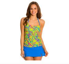 NWT $50 Speedo Fitness Palm Floral Print Halterkini Tankini Top Swimsuit Women's
