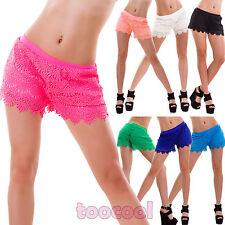 Pantaloncini donna shorts PIZZO ricamo elastico hot pants mare nuovi SM4536