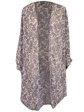 Audrey 3 + 1 Chiffon Paisley Print Long Oversized Kimono With Short Sleeves