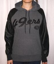 San Francisco 49ers Womens Fleece Hoodie Sweatshirt With Faux Leather Sleeves