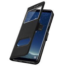 Custodia per Samsung Galaxy S8 Funzione Stand con Doppia Finestra - Nera