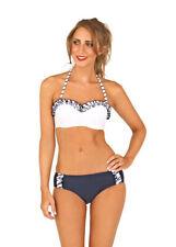 Sz 8-16 Boutique White & Blue Padded Nautical Bandeau Bikini Frill Top