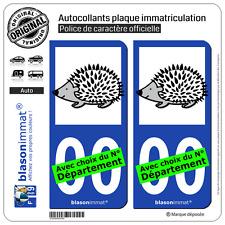 2 Stickers autocollant plaque immatriculation Auto : Hérisson