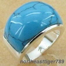 Charming Turquoise 18KWGP Men's Ring Size: 8.9.10.11