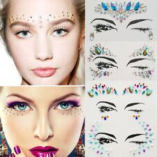 Face Body Beauty Rhinestone Stickers Tattoo Crystal Glitter Eye Rock Temporary