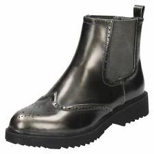 Mujer f50483 Gris Sintético SIN CIERRES Zapato Oxford Botines de Spot On