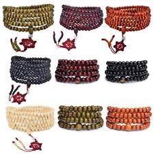 Elasticated wood beaded Buddha bracelet meditation worry beads 8 colours