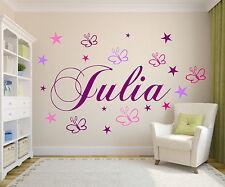 Wandtattoo für das Kinderzimmer Wunschnamen mit Schmetterlingen+Sternen Baby