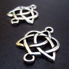 Paquet 10 x Argent Antique Tibétain Celtic Knot Pagan Connecteurs 18x22mm Y00130