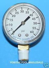 """Pool Spa Filter Pressure Gauge 0-60 psi 1/4"""" Side Bottom Mount"""