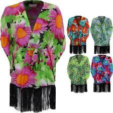 Ladies Short Batwing Sleeve Chiffon Floral Tasselled Women's Kimono Jacket