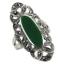 925 ECHT SILBER *** Großer grüner Achat- Markasit Ring, Gr. 62