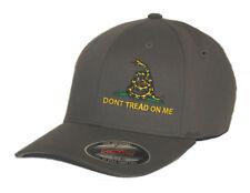 DON'T TREAD ON ME HAT FLEXFIT FITTED CAP GADSDEN FLAG S/M L/XL XL/XXL grey